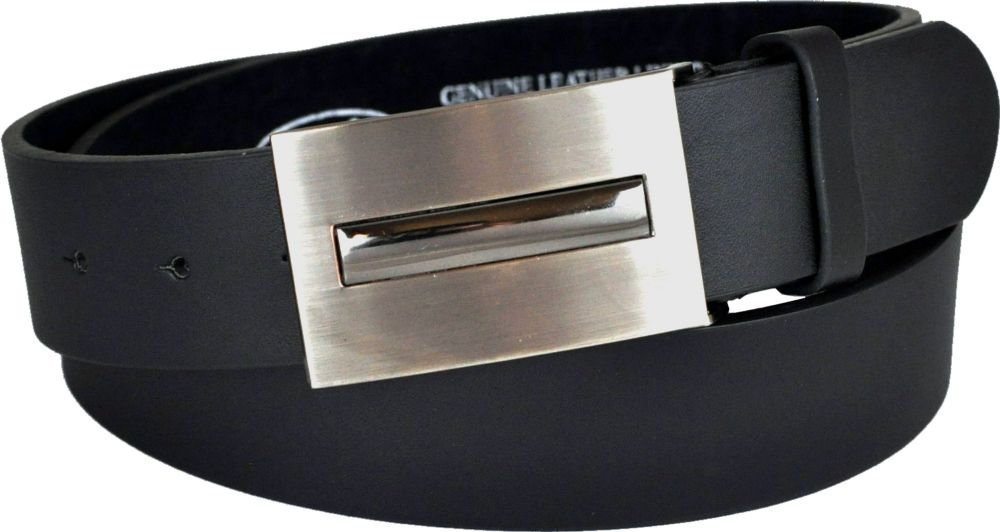 "Mens 1.5"" Leather Lined Plate Buckle Belt"